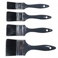 Pinselset 4 Flachpinsel schwarze Borste KSt.-Griff