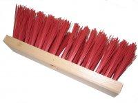 Straßenbesen 30 cm Hartholz  PVC rot