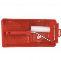 Lackierrollerset mit Farbwanne rot 3 teilig ein Schaumwalze und Bügel