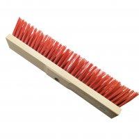 Straßenbesen 50 cm Hartholz  PVC rot